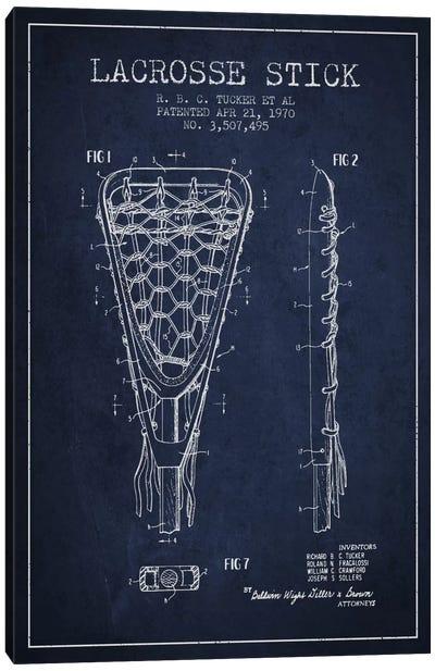 Lacrosse Stick Navy Blue Patent Blueprint Canvas Print #ADP2207