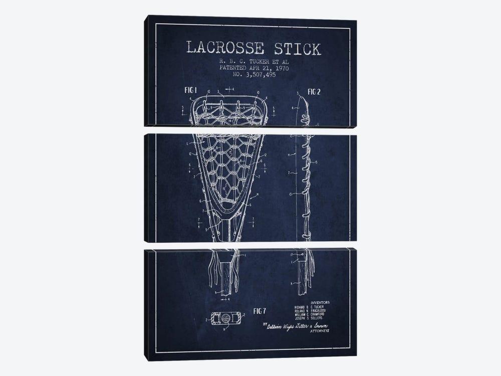 Lacrosse Stick Navy Blue Patent Blueprint by Aged Pixel 3-piece Canvas Artwork