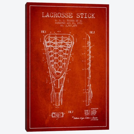Lacrosse Stick Red Patent Blueprint Canvas Print #ADP2208} by Aged Pixel Canvas Art