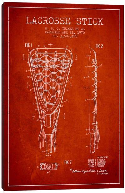 Lacrosse Stick Red Patent Blueprint Canvas Art Print