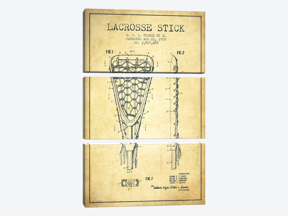 Lacrosse Stick Vintage Patent Blueprint by Aged Pixel 3-piece Canvas Art