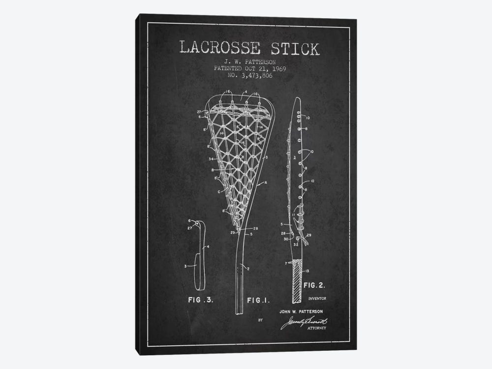Lacrosse Stick Charcoal Patent Blueprint by Aged Pixel 1-piece Canvas Artwork