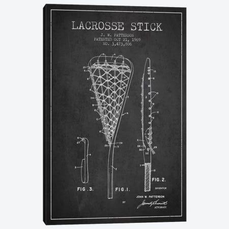Lacrosse Stick Charcoal Patent Blueprint Canvas Print #ADP2210} by Aged Pixel Canvas Art Print