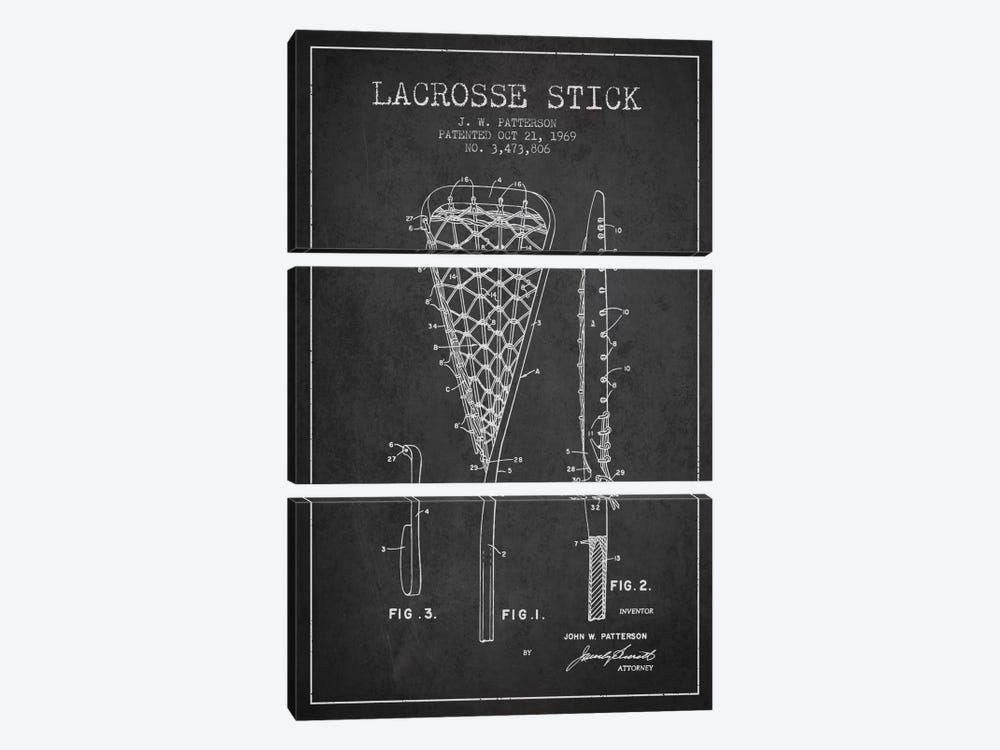 Lacrosse Stick Charcoal Patent Blueprint by Aged Pixel 3-piece Canvas Wall Art