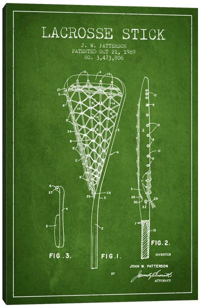 Lacrosse Stick Green Patent Blueprint Canvas Art Print