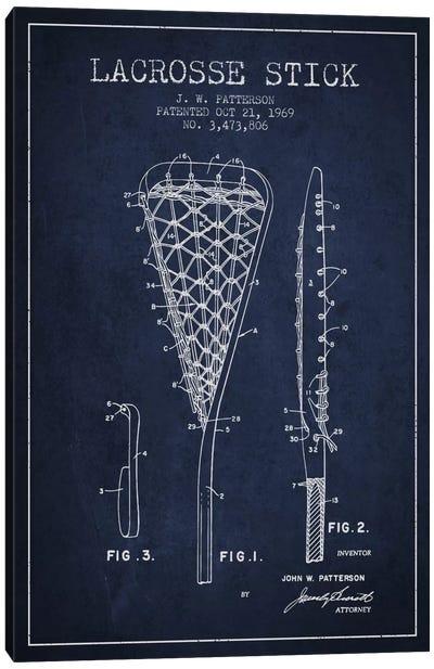 Lacrosse Stick Navy Blue Patent Blueprint Canvas Art Print