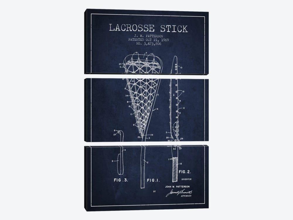 Lacrosse Stick Navy Blue Patent Blueprint by Aged Pixel 3-piece Canvas Wall Art