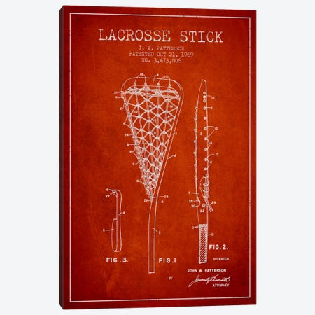 Lacrosse Stick Red Patent Blueprint Canvas Print #ADP2213} by Aged Pixel Art Print