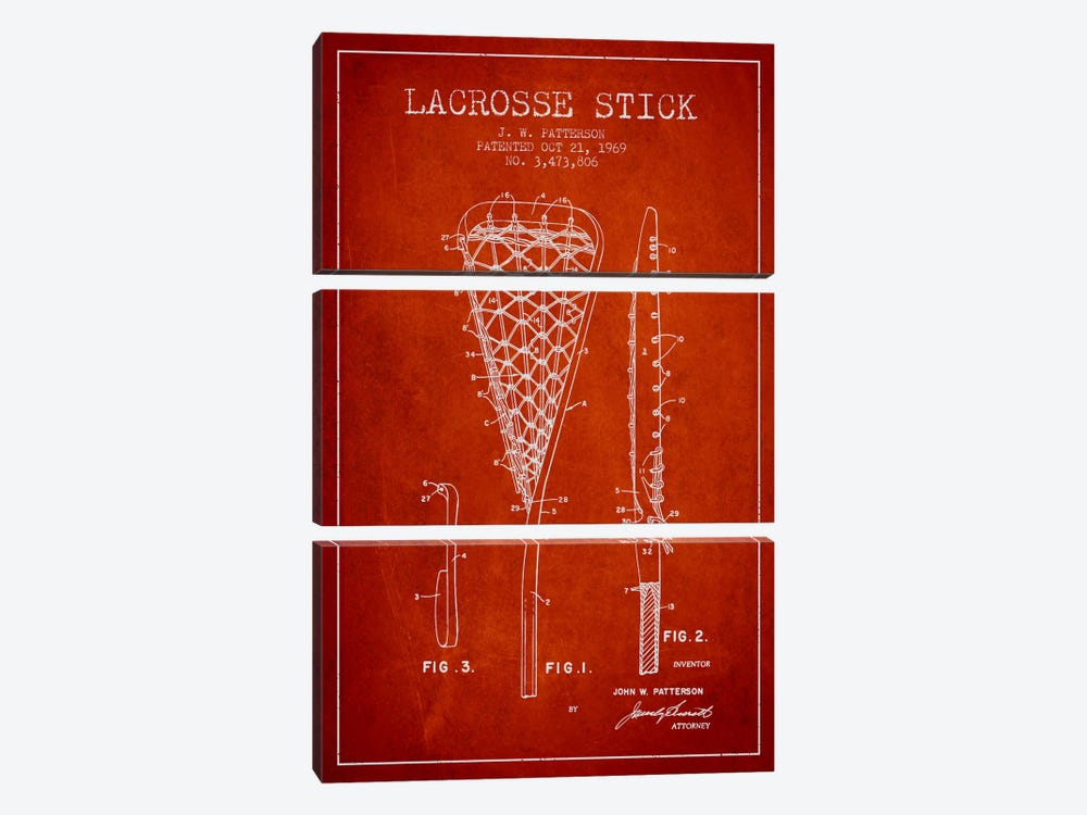 Lacrosse Stick Red Patent Blueprint by Aged Pixel 3-piece Canvas Print
