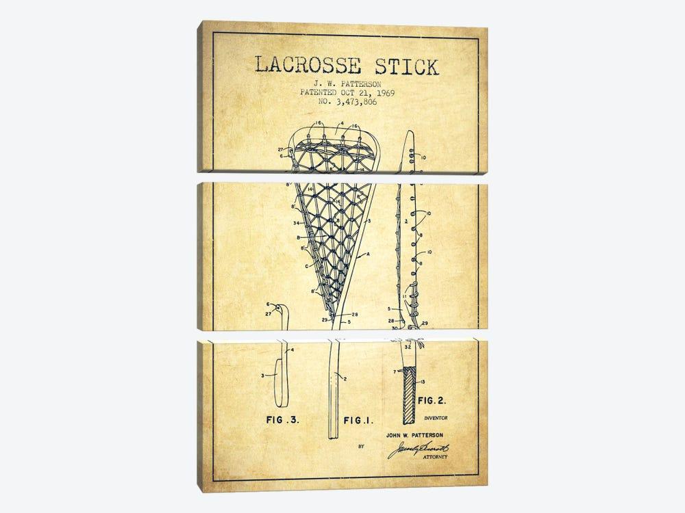 Lacrosse Stick Vintage Patent Blueprint by Aged Pixel 3-piece Canvas Wall Art