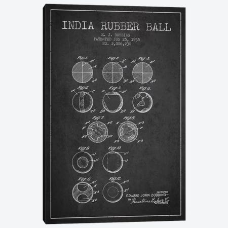 India Rubber Ball Charcoal Patent Blueprint Canvas Print #ADP2215} by Aged Pixel Canvas Wall Art
