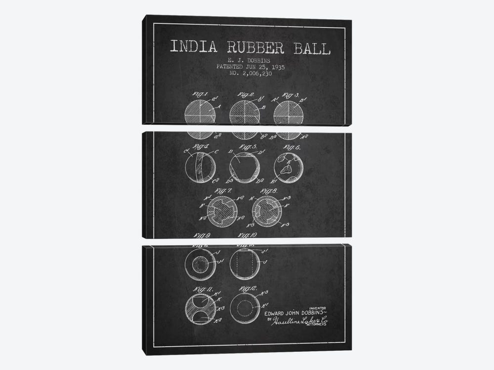 India Rubber Ball Charcoal Patent Blueprint by Aged Pixel 3-piece Art Print