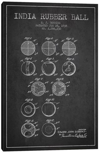 India Rubber Ball Charcoal Patent Blueprint Canvas Art Print
