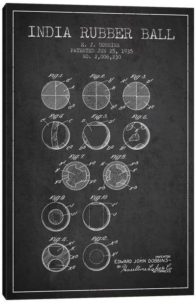 India Rubber Ball Charcoal Patent Blueprint Canvas Art Print