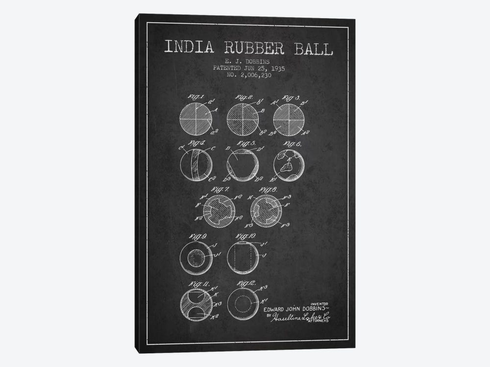 India Rubber Ball Charcoal Patent Blueprint by Aged Pixel 1-piece Canvas Art Print