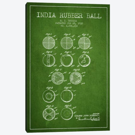 India Rubber Ball Green Patent Blueprint Canvas Print #ADP2216} by Aged Pixel Canvas Wall Art