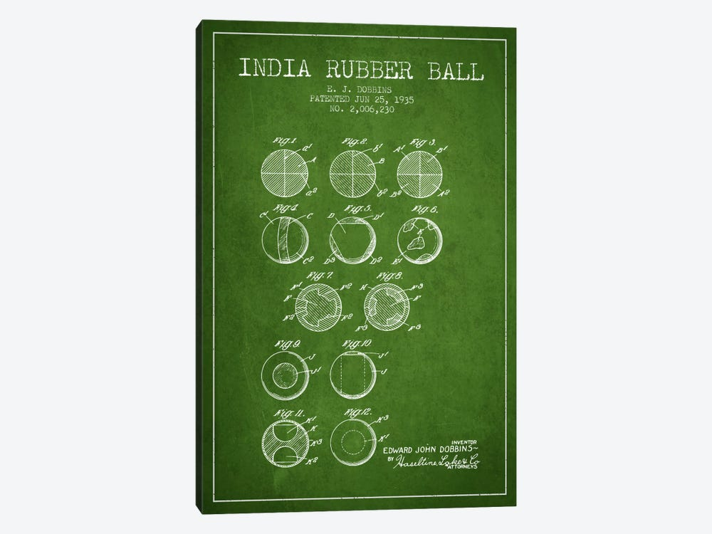 India Rubber Ball Green Patent Blueprint by Aged Pixel 1-piece Canvas Artwork