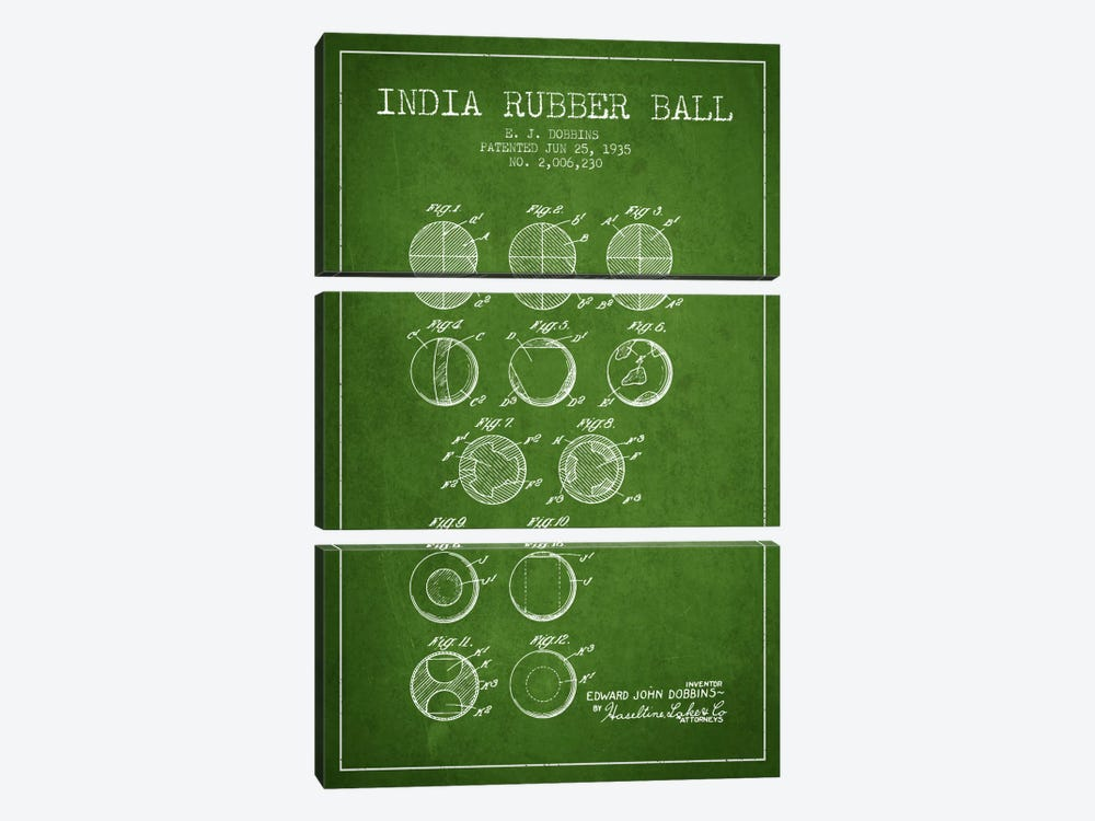 India Rubber Ball Green Patent Blueprint by Aged Pixel 3-piece Canvas Art