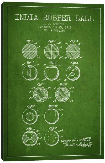India Rubber Ball Green Patent Blueprint Canvas Art Print