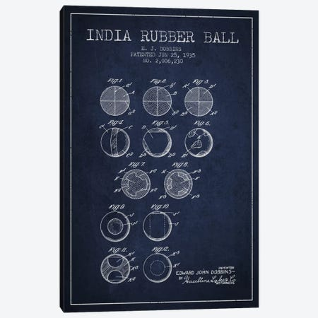 India Rubber Ball Navy Blue Patent Blueprint Canvas Print #ADP2217} by Aged Pixel Canvas Artwork