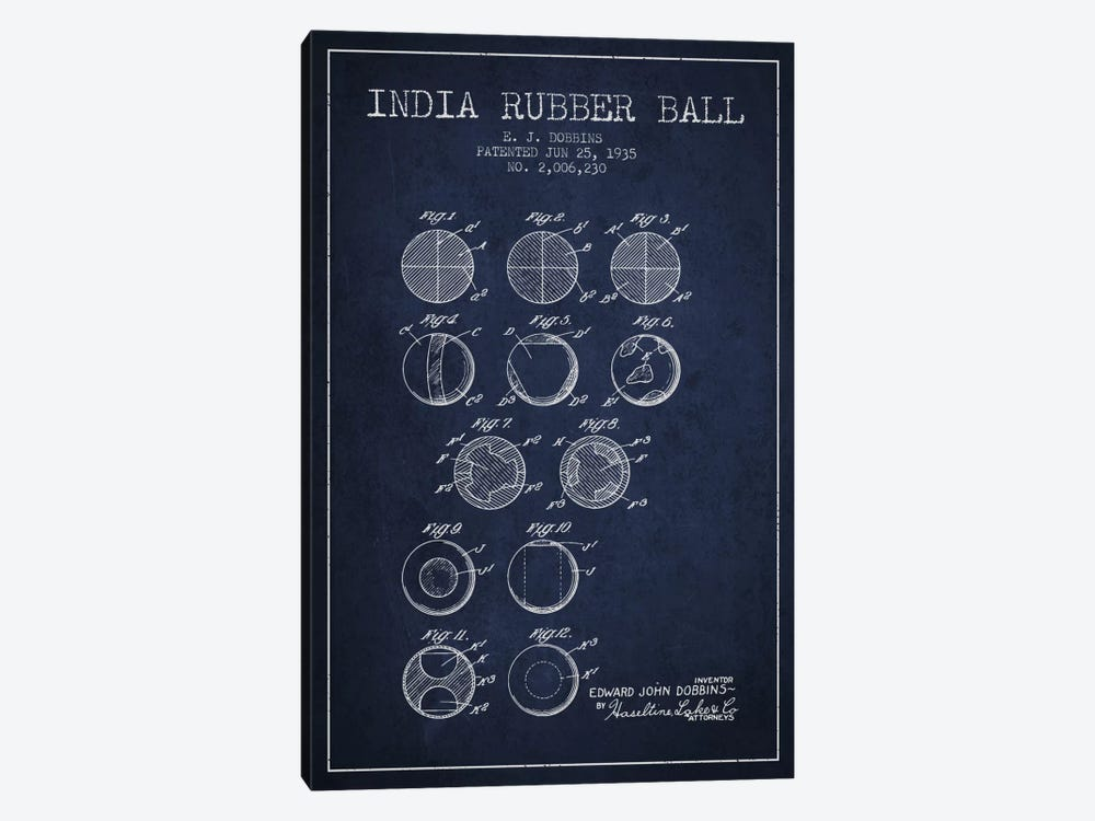 India Rubber Ball Navy Blue Patent Blueprint by Aged Pixel 1-piece Canvas Art Print