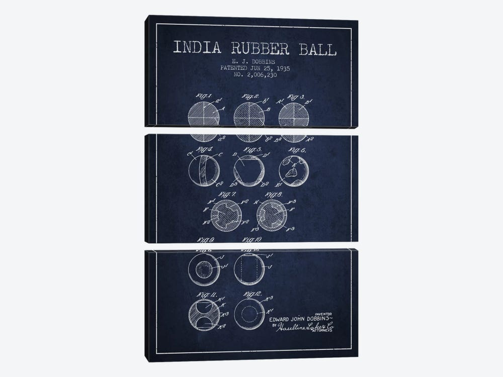 India Rubber Ball Navy Blue Patent Blueprint by Aged Pixel 3-piece Canvas Print