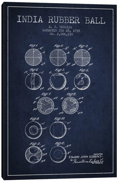 India Rubber Ball Navy Blue Patent Blueprint Canvas Art Print