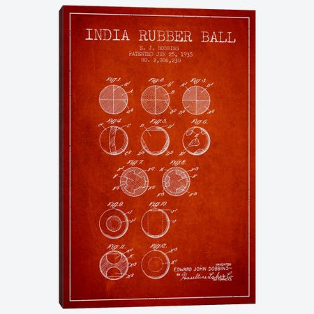 India Rubber Ball Red Patent Blueprint Canvas Print #ADP2218} by Aged Pixel Canvas Art Print