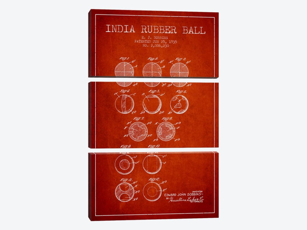 India Rubber Ball Red Patent Blueprint by Aged Pixel 3-piece Canvas Wall Art