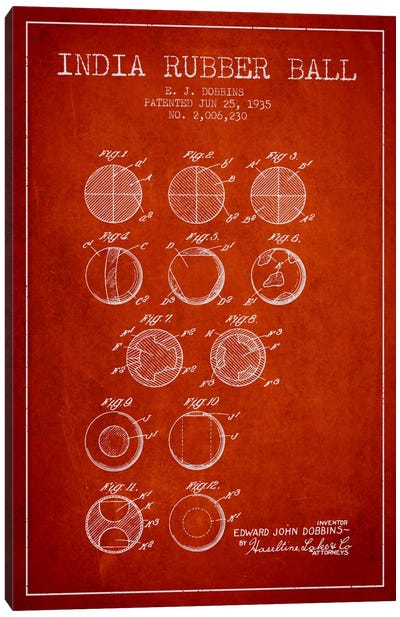 India Rubber Ball Red Patent Blueprint Canvas Art Print