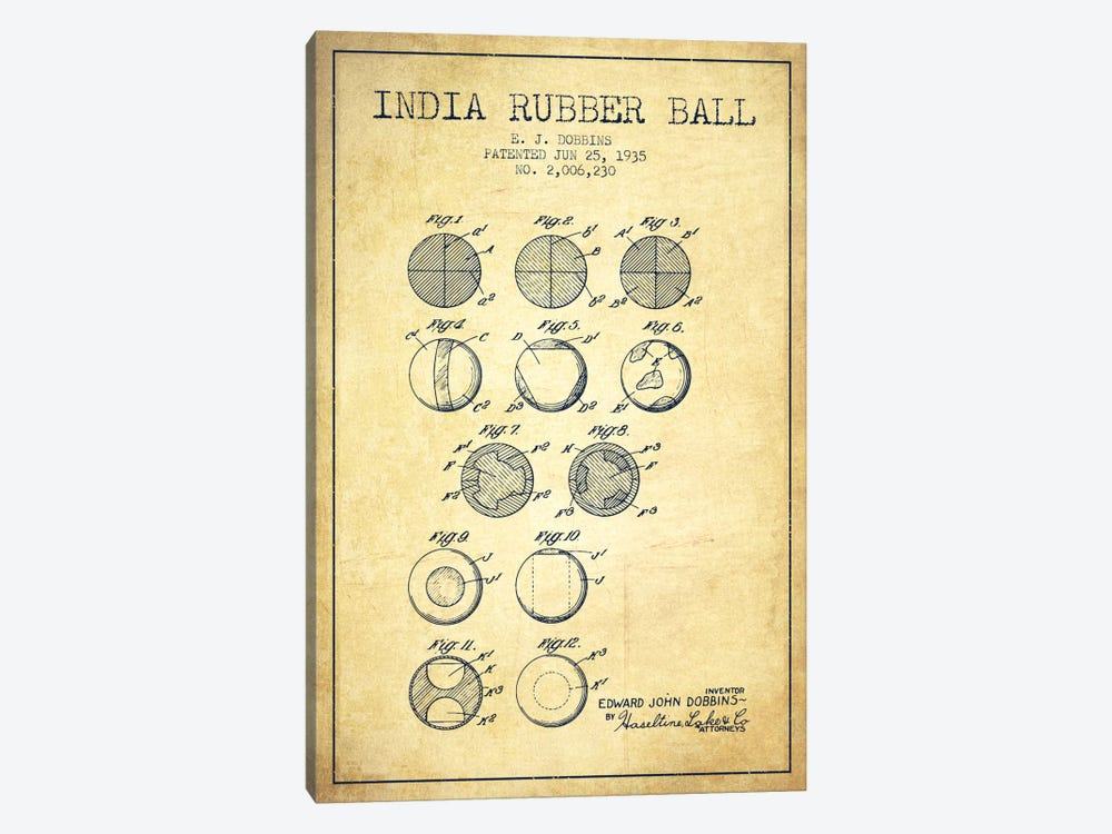 India Rubber Ball Vintage Patent Blueprint by Aged Pixel 1-piece Art Print