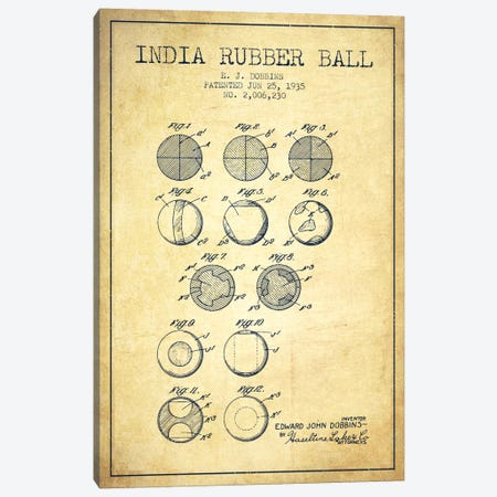 India Rubber Ball Vintage Patent Blueprint Canvas Print #ADP2219} by Aged Pixel Canvas Print