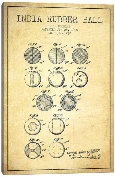 India Rubber Ball Vintage Patent Blueprint Canvas Art Print