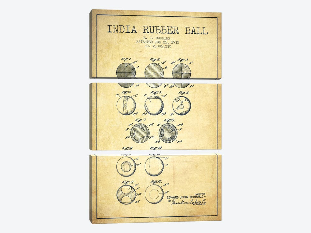 India Rubber Ball Vintage Patent Blueprint by Aged Pixel 3-piece Canvas Print