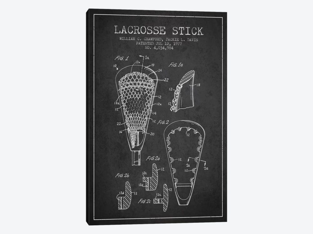 Lacrosse Stick Charcoal Patent Blueprint 1-piece Art Print