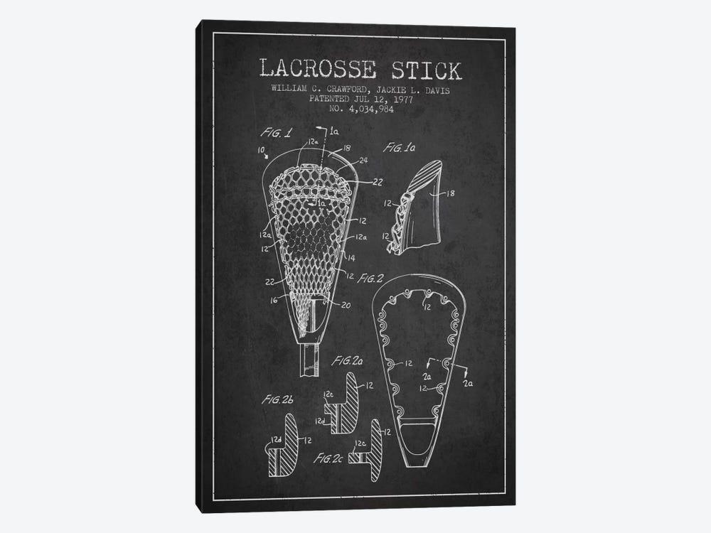 Lacrosse Stick Charcoal Patent Blueprint by Aged Pixel 1-piece Art Print
