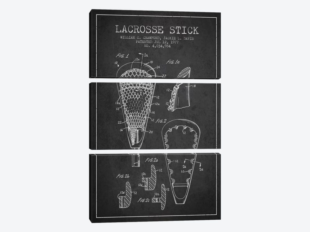Lacrosse Stick Charcoal Patent Blueprint by Aged Pixel 3-piece Canvas Art Print