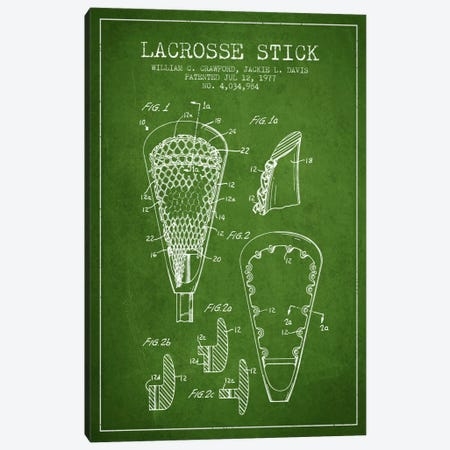 Lacrosse Stick Green Patent Blueprint Canvas Print #ADP2221} by Aged Pixel Canvas Wall Art