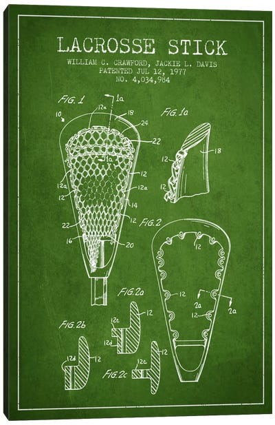 Lacrosse Stick Green Patent Blueprint Canvas Print #ADP2221