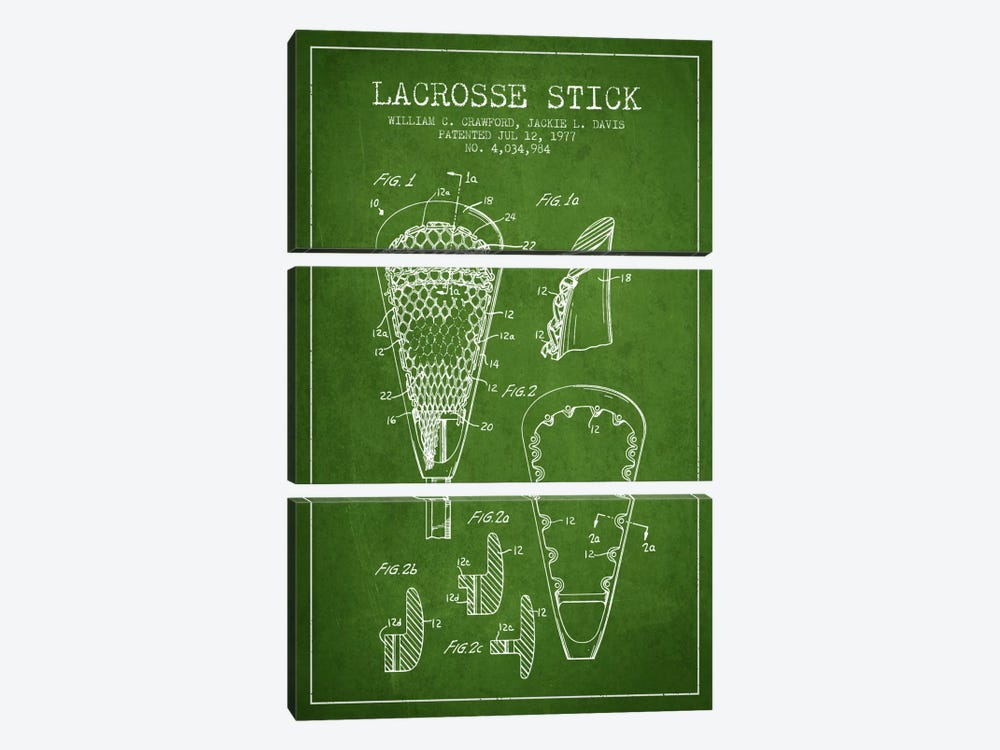 Lacrosse Stick Green Patent Blueprint by Aged Pixel 3-piece Canvas Wall Art
