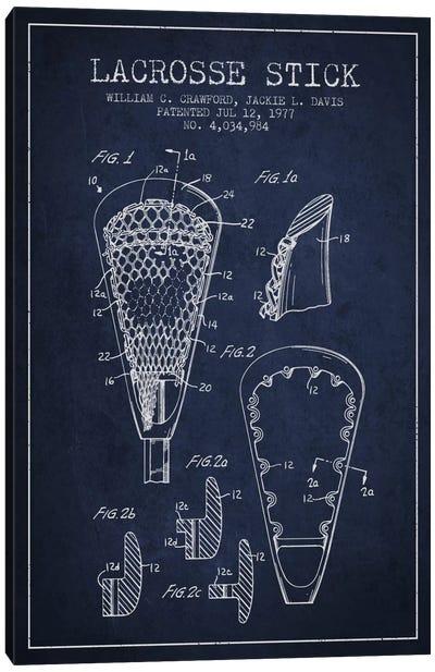 Lacrosse Stick Navy Blue Patent Blueprint Canvas Print #ADP2222