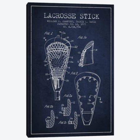 Lacrosse Stick Navy Blue Patent Blueprint Canvas Print #ADP2222} by Aged Pixel Canvas Wall Art