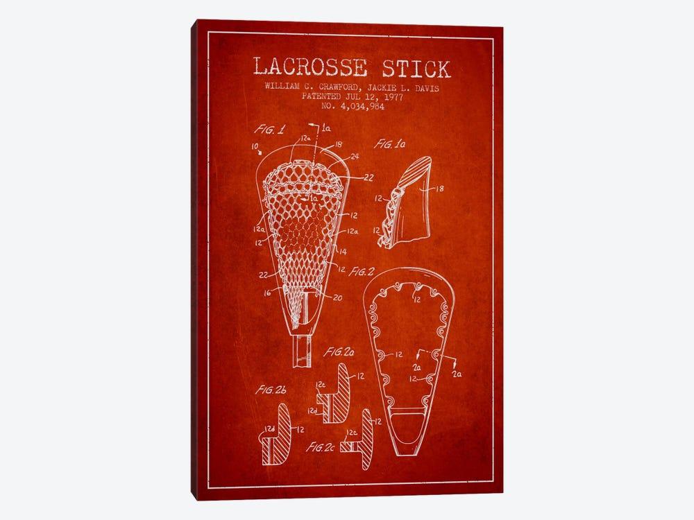 Lacrosse Stick Red Patent Blueprint by Aged Pixel 1-piece Canvas Art