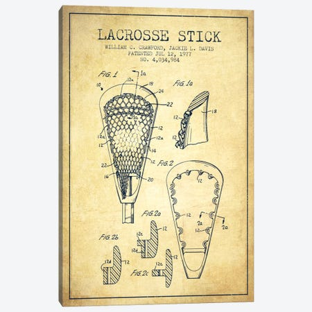 Lacrosse Stick Vintage Patent Blueprint Canvas Print #ADP2224} by Aged Pixel Canvas Art Print