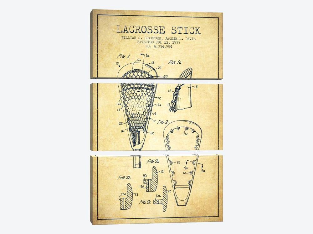 Lacrosse Stick Vintage Patent Blueprint by Aged Pixel 3-piece Canvas Art Print