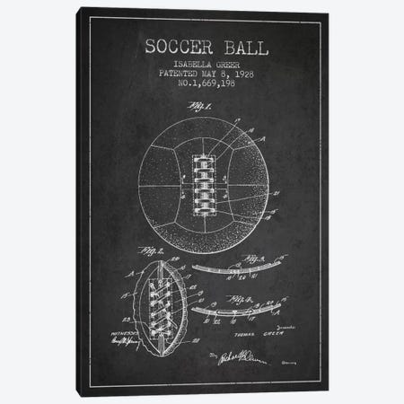 Soccer Ball Charcoal Patent Blueprint Canvas Print #ADP2225} by Aged Pixel Art Print