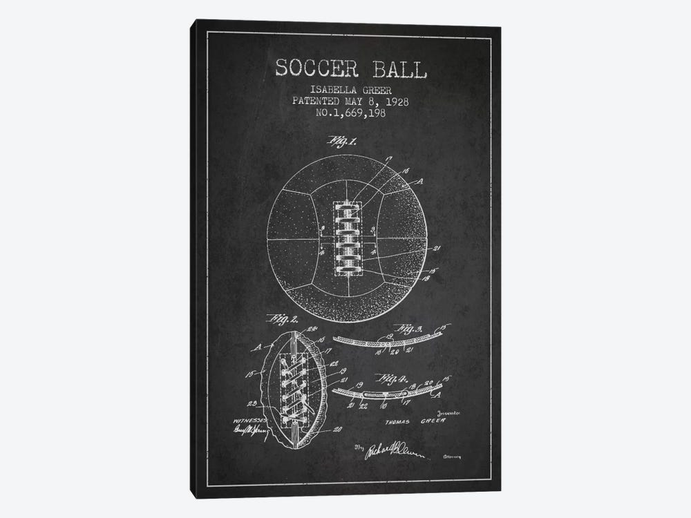 Soccer Ball Charcoal Patent Blueprint by Aged Pixel 1-piece Canvas Artwork