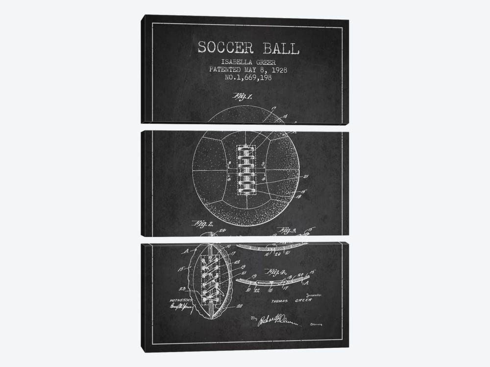 Soccer Ball Charcoal Patent Blueprint by Aged Pixel 3-piece Canvas Artwork