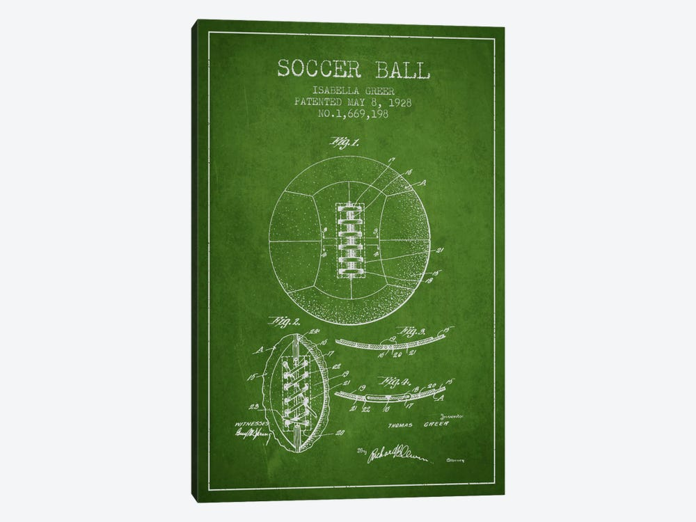 Soccer Ball Green Patent Blueprint by Aged Pixel 1-piece Canvas Art Print