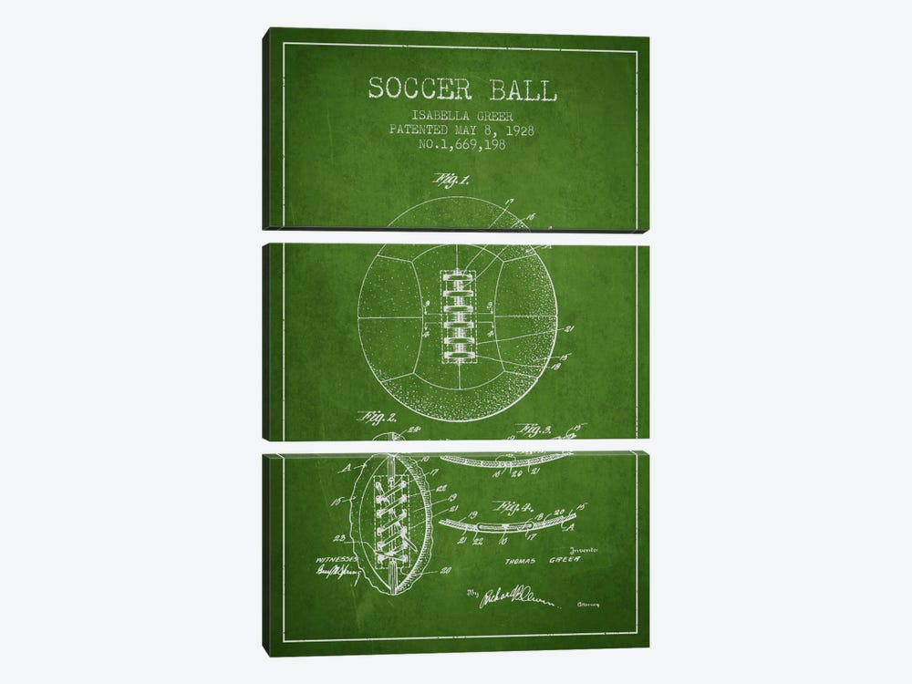 Soccer Ball Green Patent Blueprint by Aged Pixel 3-piece Canvas Print